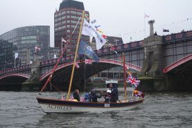 Drascombe Gig Open Sailing Boat on River Thames